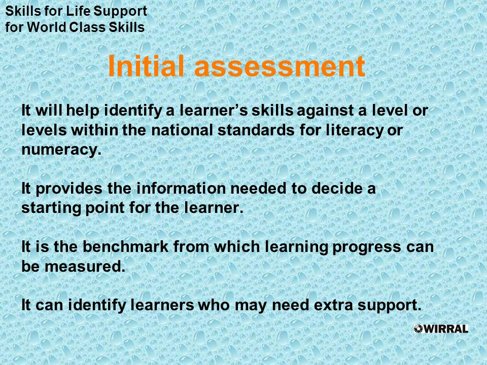 Initial assessment It will help identify a learners skills against a level or levels within the national standards for literacy or numeracy.