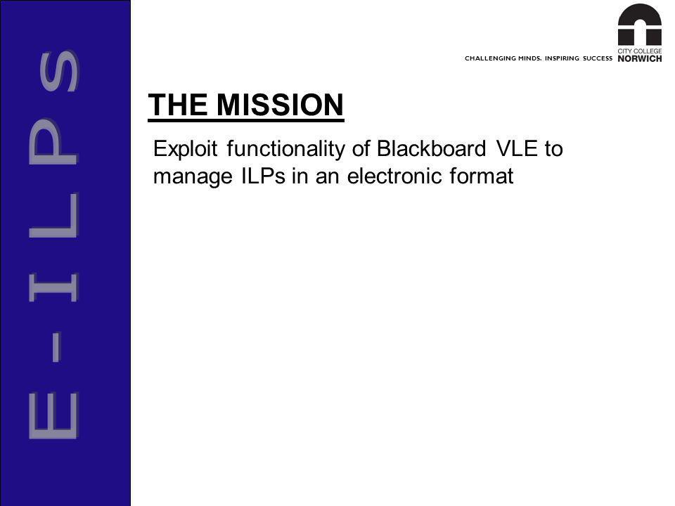 CHALLENGING MINDS. INSPIRING SUCCESS Exploit functionality of Blackboard VLE to manage ILPs in an electronic format THE MISSION