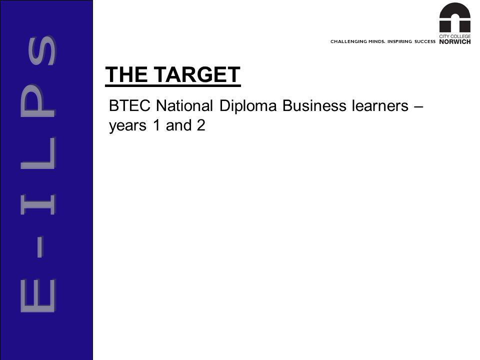 CHALLENGING MINDS. INSPIRING SUCCESS BTEC National Diploma Business learners – years 1 and 2 THE TARGET