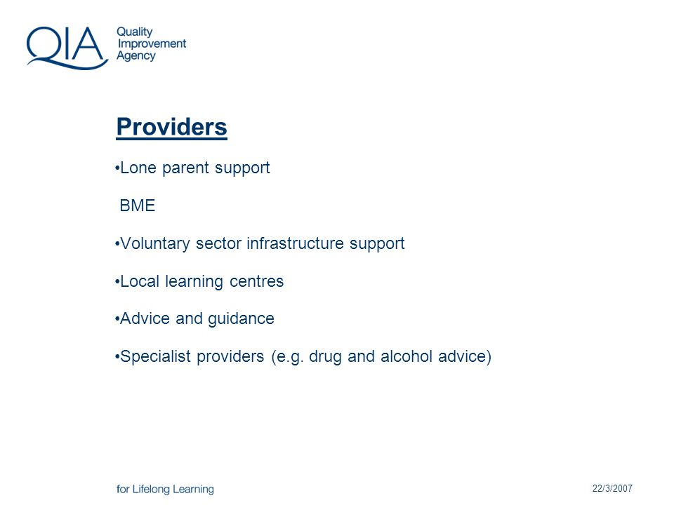 22/3/2007 Providers Lone parent support BME Voluntary sector infrastructure support Local learning centres Advice and guidance Specialist providers (e.g.