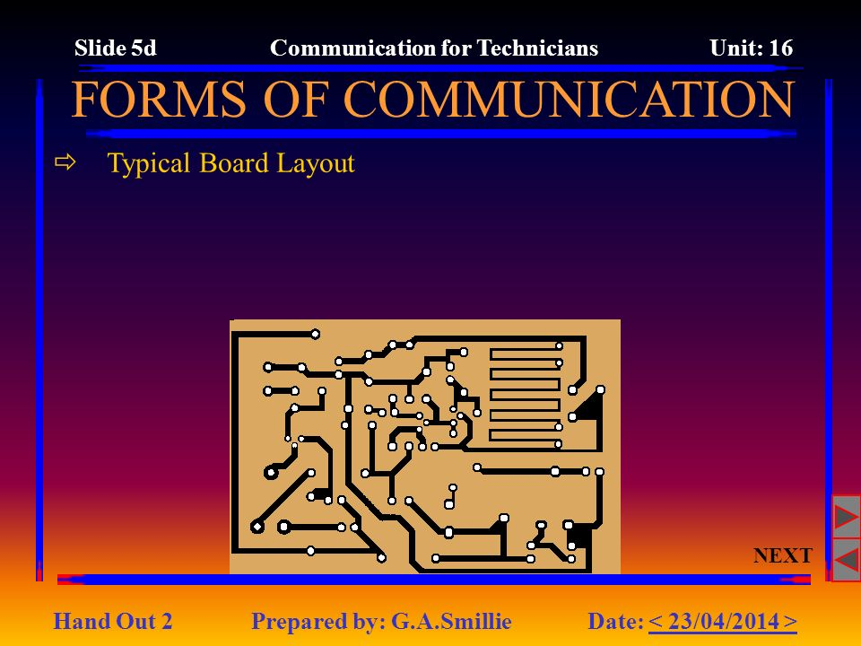 Typical Board Layout NEXT FORMS OF COMMUNICATION Slide 5d Communication for Technicians Unit: 16 Hand Out 2 Prepared by: G.A.Smillie Date: