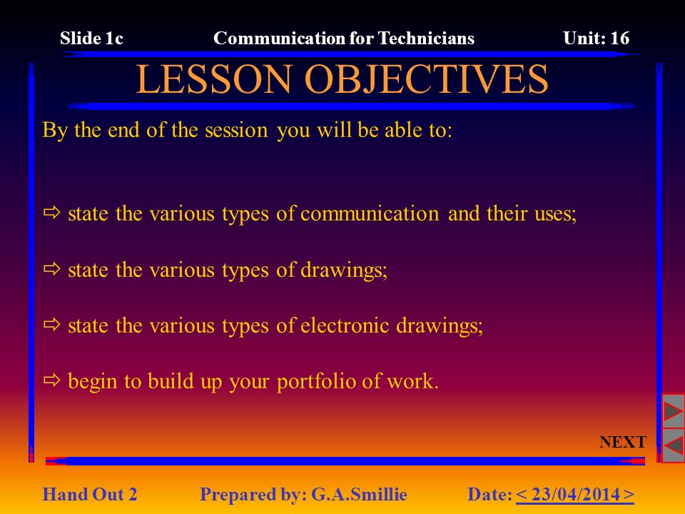 By the end of the session you will be able to: state the various types of communication and their uses; state the various types of drawings; state the