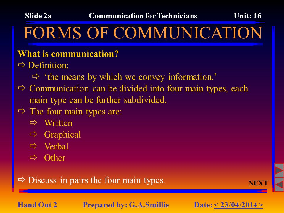 What is communication.Definition: the means by which we convey information.