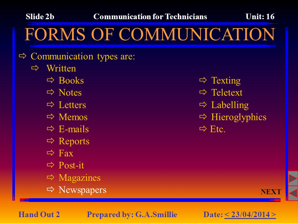 Communication types are: Written Books Notes Letters Memos E-mails Reports Fax Post-it Magazines Newspapers FORMS OF COMMUNICATION Texting Teletext La