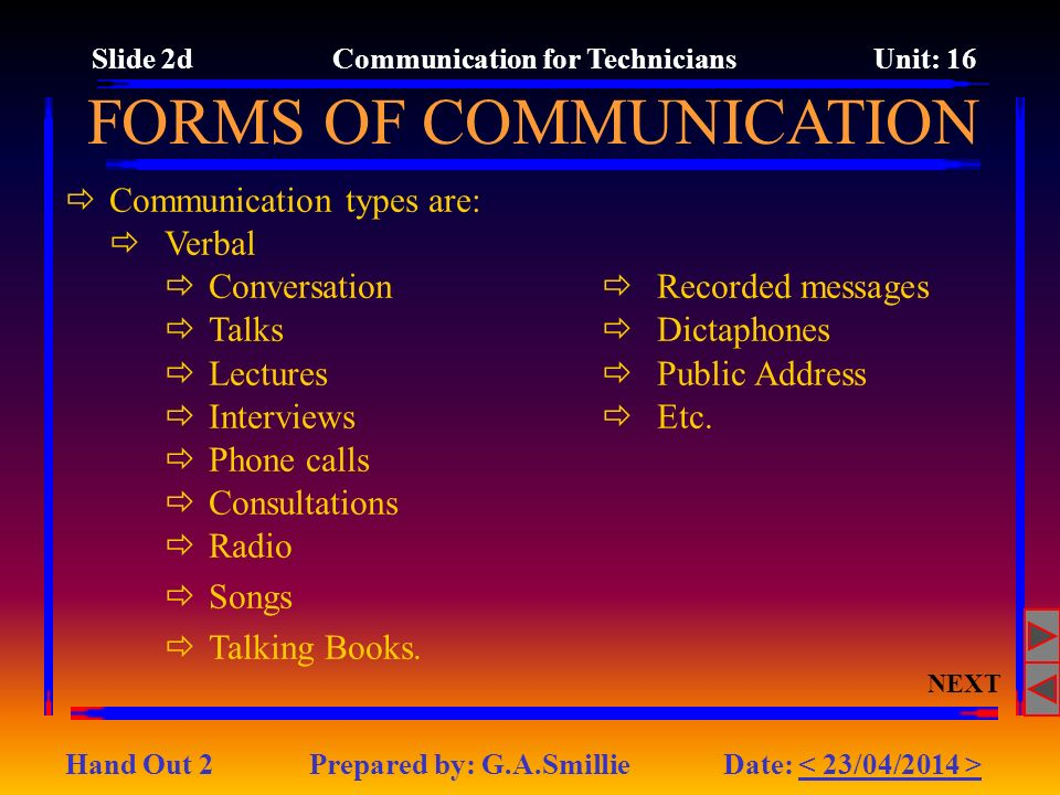 FORMS OF COMMUNICATION Communication types are: Verbal Conversation Talks Lectures Interviews Phone calls Consultations Radio Songs Talking Books.