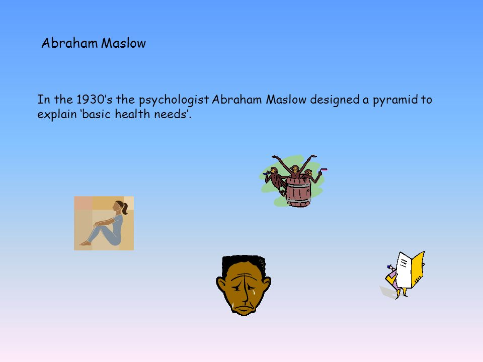 Abraham Maslow In the 1930s the psychologist Abraham Maslow designed a pyramid to explain basic health needs.