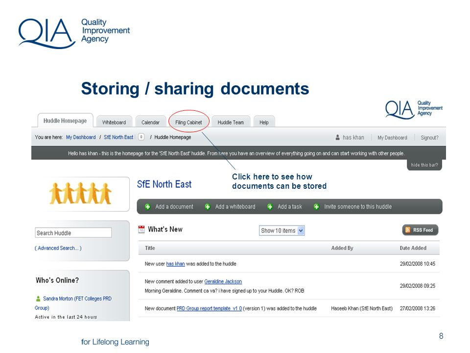 8 Storing / sharing documents Click here to see how documents can be stored