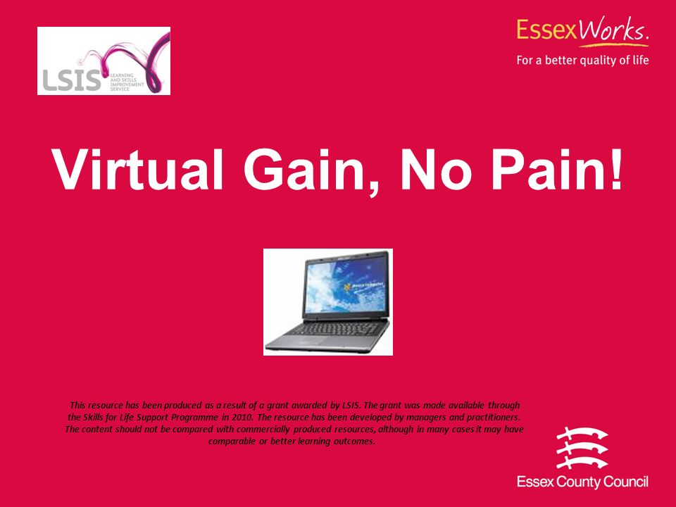 Virtual Gain, No Pain. This resource has been produced as a result of a grant awarded by LSIS.