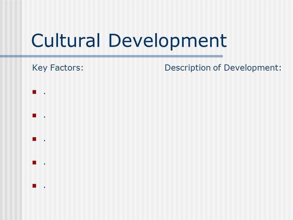 Social Development Key Factors:. Description of Development: