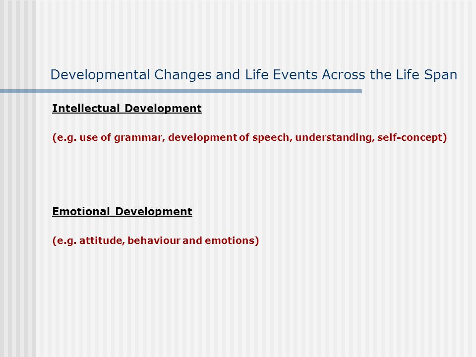 Developmental Changes and Life Events Across the Life Span Stage: (Identify the stage you are presenting) Age range: (Give a brief description about this stage and state the relevant age range) Physical Development (e.g.
