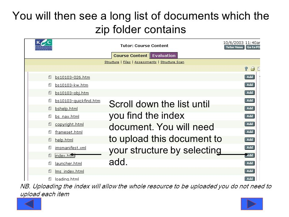 You will then see a long list of documents which the zip folder contains Scroll down the list until you find the index document.