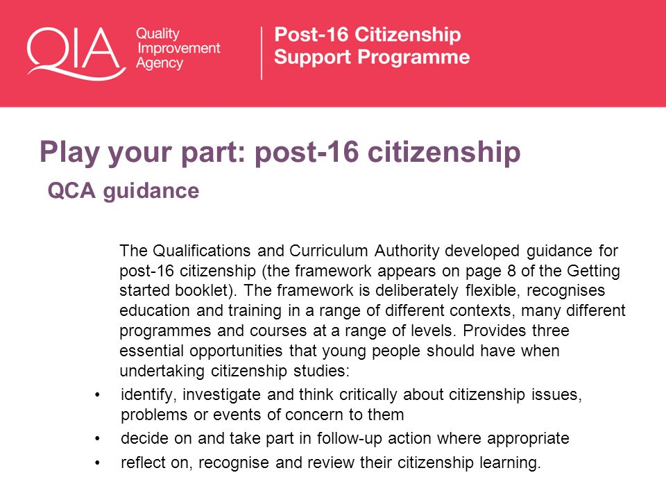 Play your part: post-16 citizenship QCA guidance The Qualifications and Curriculum Authority developed guidance for post-16 citizenship (the framework