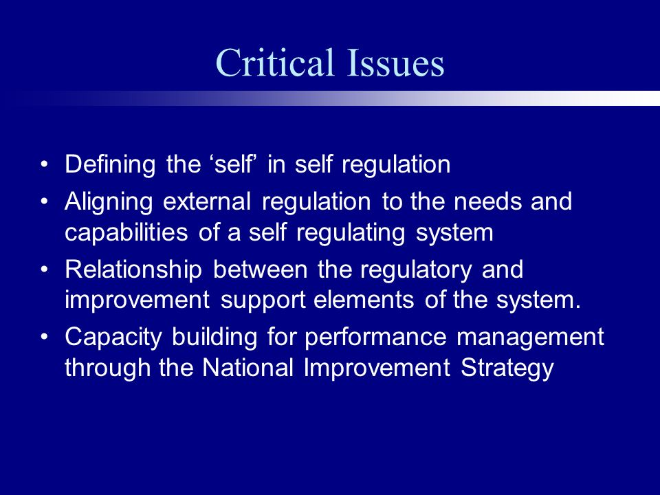 Critical Issues Defining the self in self regulation Aligning external regulation to the needs and capabilities of a self regulating system Relationship between the regulatory and improvement support elements of the system.