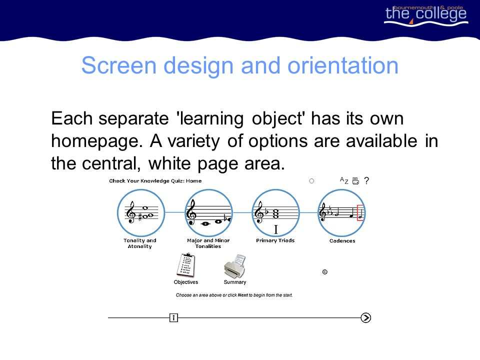 Screen design and orientation Each separate learning object has its own homepage.