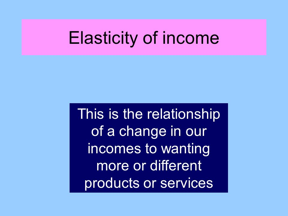 Elasticity of income This is the relationship of a change in our incomes to wanting more or different products or services
