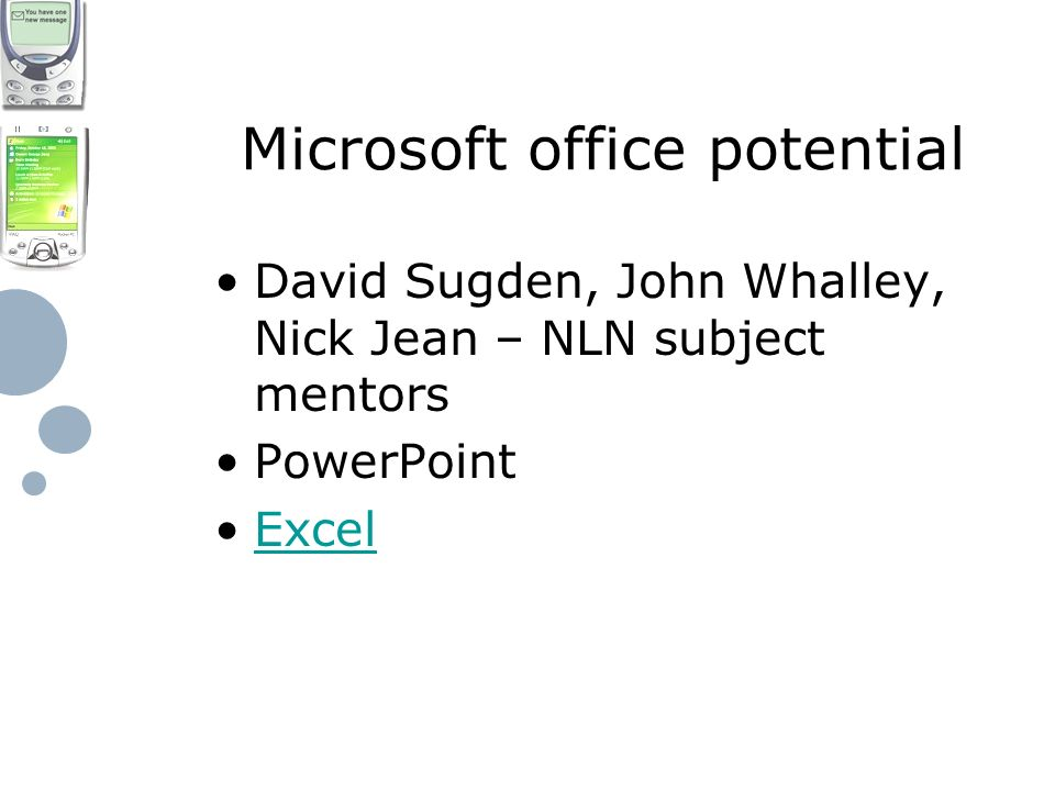 Microsoft office potential David Sugden, John Whalley, Nick Jean – NLN subject mentors PowerPoint Excel
