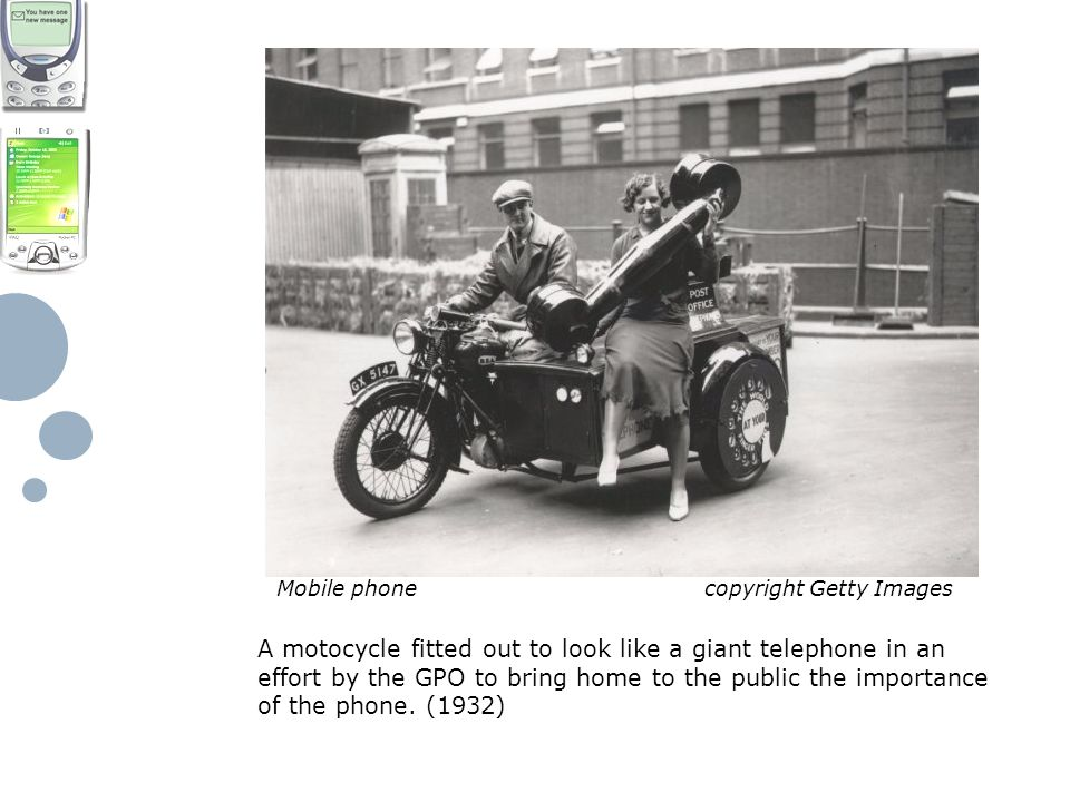 A motocycle fitted out to look like a giant telephone in an effort by the GPO to bring home to the public the importance of the phone.