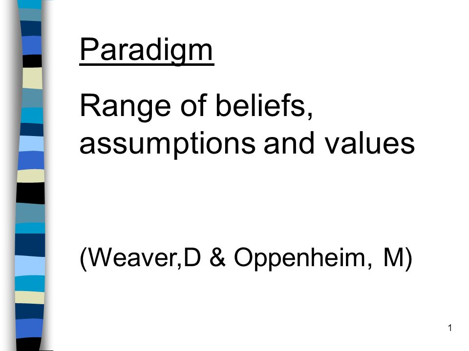 1 Paradigm Range of beliefs, assumptions and values (Weaver,D & Oppenheim, M)