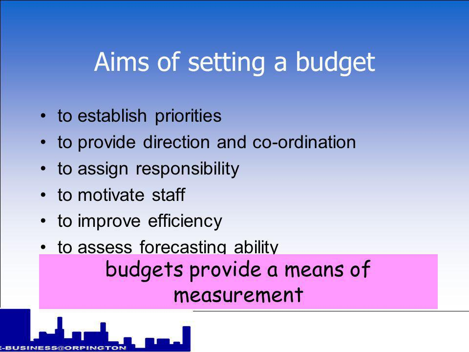 Classification of budgets budgets normally apply to functional areas within a business (e.g.