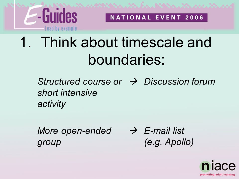 1.Think about timescale and boundaries: Structured course or short intensive activity Discussion forum More open-ended group  list (e.g.