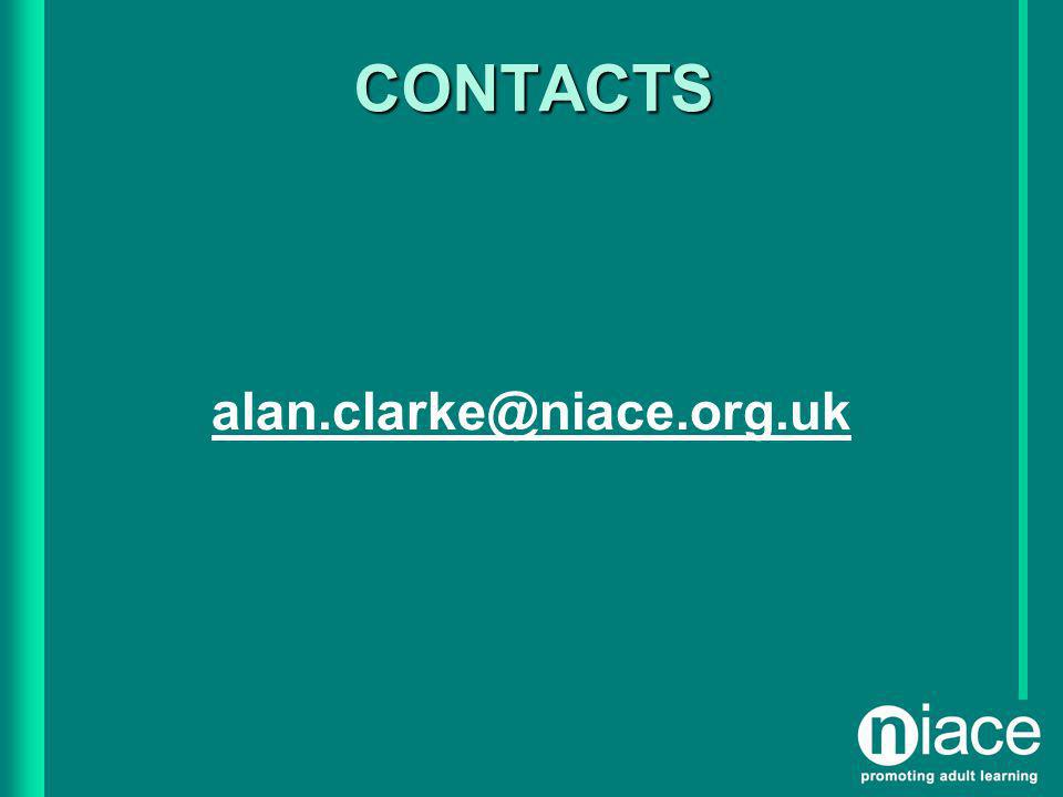 CONTACTS alan.clarke@niace.org.uk