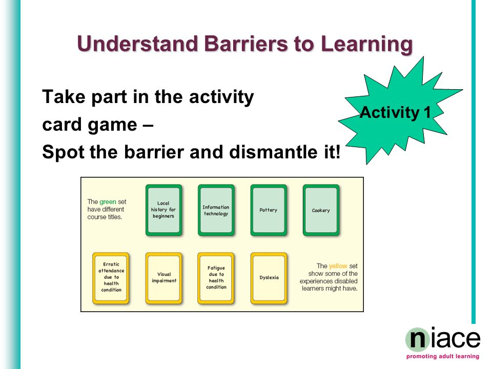Understand Barriers to Learning Take part in the activity card game – Spot the barrier and dismantle it! Activity 1
