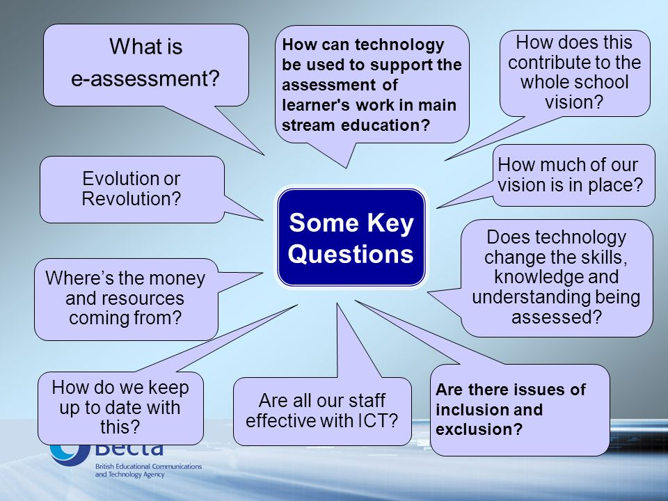 How can technology be used to support the assessment of learner's work in main stream education? How much of our vision is in place? Wheres the money