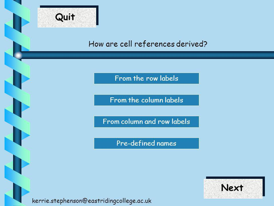 End Next Quit Next kerrie.stephenson@eastridingcollege.ac.uk How are cell references derived? From the column labels From the row labels From column a