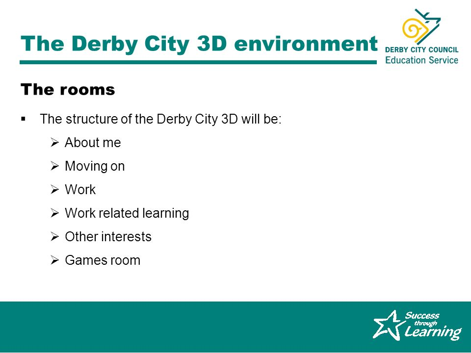 Graeme Ferguson, Derby City 14-19 Pathfinder The Derby City 3D environment The structure of the Derby City 3D will be: About me Moving on Work Work related learning Other interests Games room The rooms