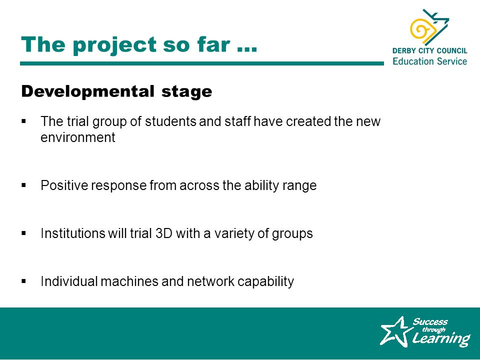 Graeme Ferguson, Derby City 14-19 Pathfinder The project so far … The trial group of students and staff have created the new environment Positive resp