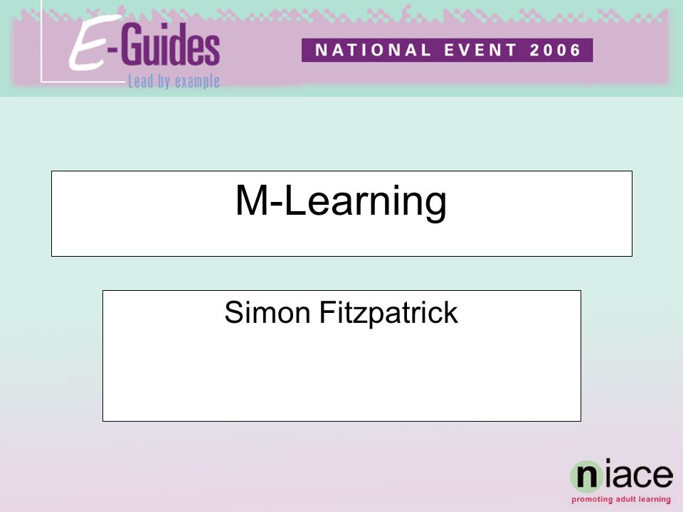 M-Learning Simon Fitzpatrick