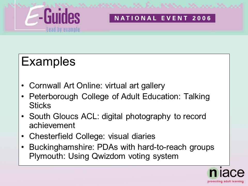 Examples Cornwall Art Online: virtual art gallery Peterborough College of Adult Education: Talking Sticks South Gloucs ACL: digital photography to record achievement Chesterfield College: visual diaries Buckinghamshire: PDAs with hard-to-reach groups Plymouth: Using Qwizdom voting system