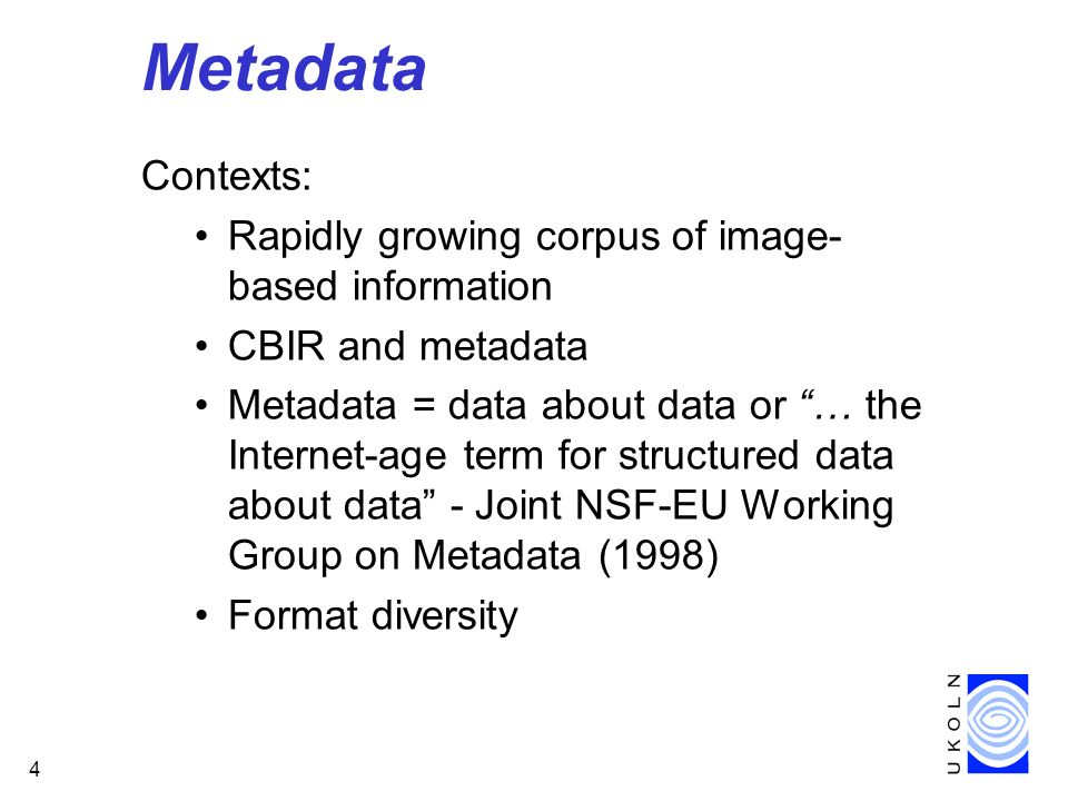 15 Making of America II Three types of metadata: Descriptive Structural Administrative