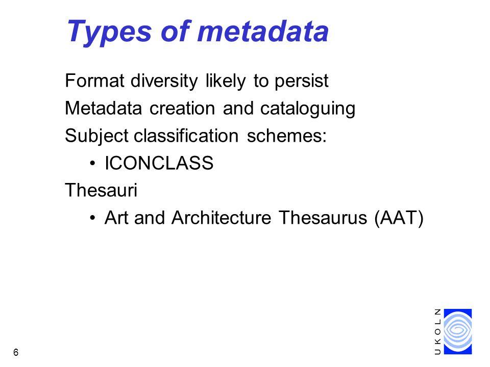 7 Dublin Core (1) International initiative to define a core set of metadata elements for resource discovery on the Internet Six DC workshops (to date): DC-1 (Dublin, Ohio) - 1995 DC-2 (Warwick) - 1996 DC-3 (Dublin, Ohio) - 1996 DC-4 (Canberra) - 1997 DC-5 (Helsinki) - 1997 DC-6 (Washington, D.C.) - 1998 DC-7 (Frankfurt am Main) - 1999 http://purl.oclc.org/dc