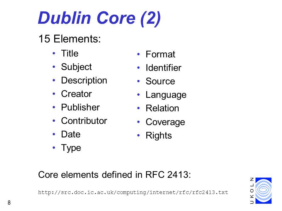 9 Dublin Core Qualifiers TYPE - refines the meaning of elements: –Relation TYPE=IsPartOf SCHEME - associates the value with an externally defined scheme: –Subject SCHEME=DDC –Date SCHEME=ISO 8601 LANGUAGE - indicates the language of the value: –Title LANGUAGE=en