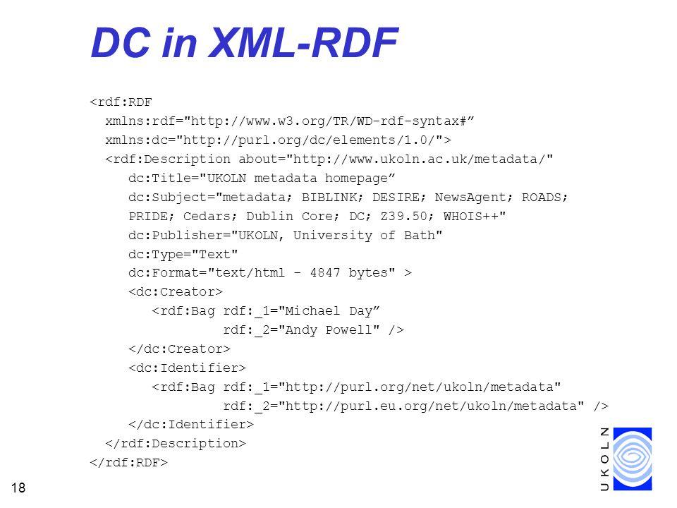 18 DC in XML-RDF <rdf:RDF xmlns:rdf= http://www.w3.org/TR/WD-rdf-syntax# xmlns:dc= http://purl.org/dc/elements/1.0/ > <rdf:Description about= http://www.ukoln.ac.uk/metadata/ dc:Title= UKOLN metadata homepage dc:Subject= metadata; BIBLINK; DESIRE; NewsAgent; ROADS; PRIDE; Cedars; Dublin Core; DC; Z39.50; WHOIS++ dc:Publisher= UKOLN, University of Bath dc:Type= Text dc:Format= text/html - 4847 bytes > <rdf:Bag rdf:_1= Michael Day rdf:_2= Andy Powell /> <rdf:Bag rdf:_1= http://purl.org/net/ukoln/metadata rdf:_2= http://purl.eu.org/net/ukoln/metadata />