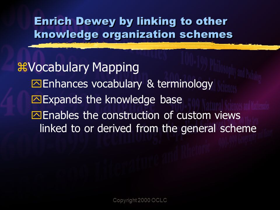 Copyright 2000 OCLC Enrich Dewey by linking to other knowledge organization schemes zVocabulary Mapping yEnhances vocabulary & terminology yExpands the knowledge base yEnables the construction of custom views linked to or derived from the general scheme