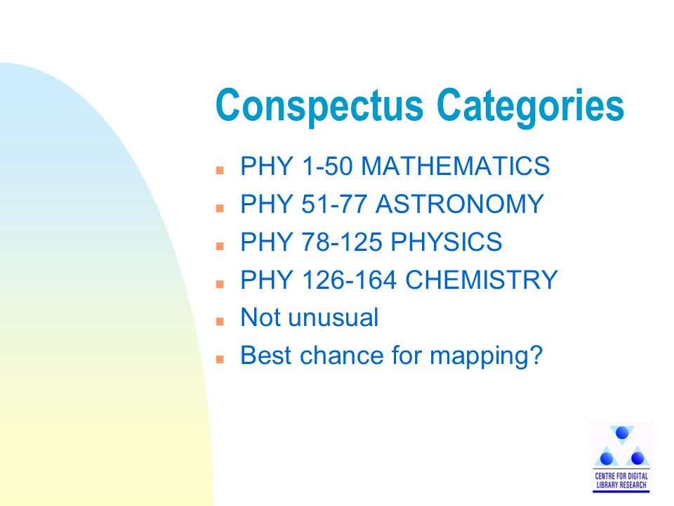 Conspectus Categories n PHY 1-50 MATHEMATICS n PHY 51-77 ASTRONOMY n PHY 78-125 PHYSICS n PHY 126-164 CHEMISTRY n Not unusual n Best chance for mapping