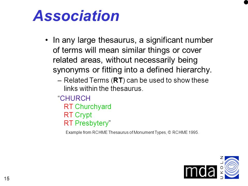 15 Association In any large thesaurus, a significant number of terms will mean similar things or cover related areas, without necessarily being synony