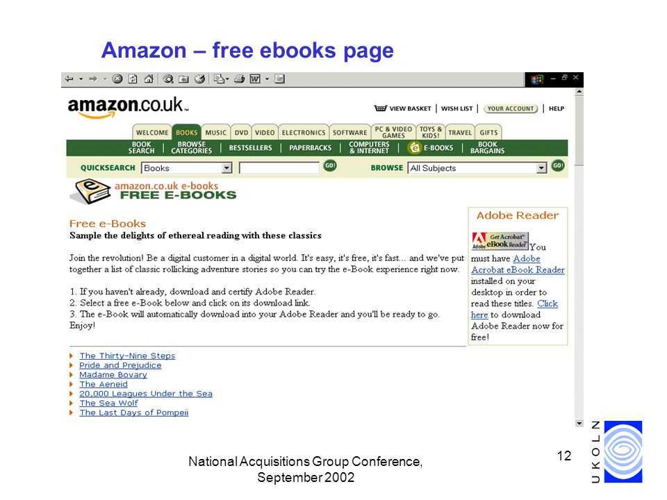 National Acquisitions Group Conference, September 2002 12 Amazon – free ebooks page