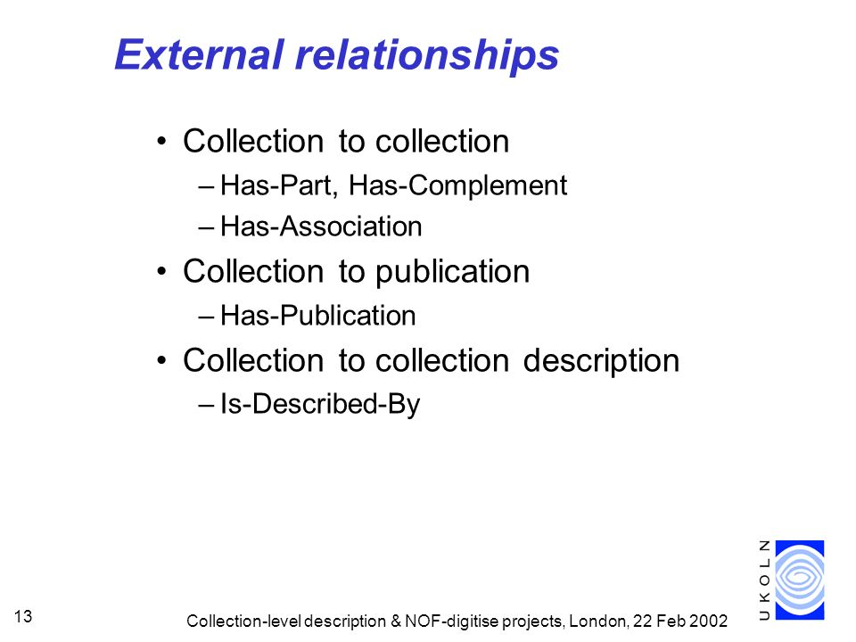 Collection-level description & NOF-digitise projects, London, 22 Feb 2002 13 External relationships Collection to collection –Has-Part, Has-Complement