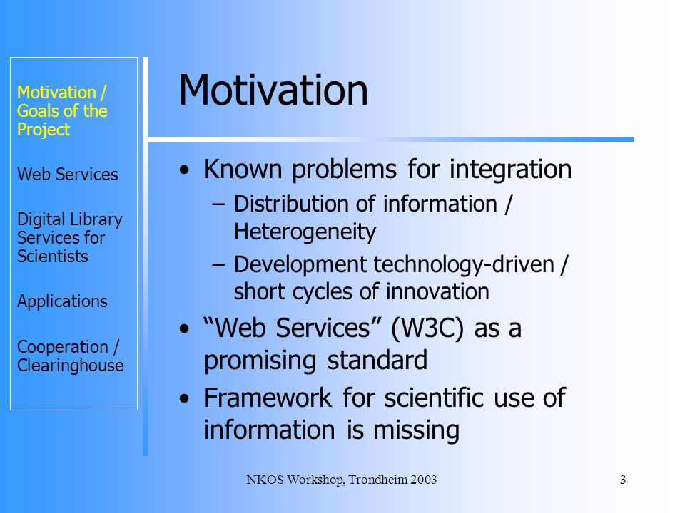 NKOS Workshop, Trondheim 20033 Motivation Known problems for integration –Distribution of information / Heterogeneity –Development technology-driven / short cycles of innovation Web Services (W3C) as a promising standard Framework for scientific use of information is missing Motivation / Goals of the Project Web Services Digital Library Services for Scientists Applications Cooperation / Clearinghouse