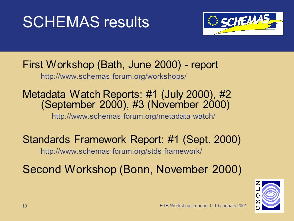 ETB Workshop, London, 9-10 January 2001 10 SCHEMAS results First Workshop (Bath, June 2000) - report http://www.schemas-forum.org/workshops/ Metadata Watch Reports: #1 (July 2000), #2 (September 2000), #3 (November 2000) http://www.schemas-forum.org/metadata-watch/ Standards Framework Report: #1 (Sept.