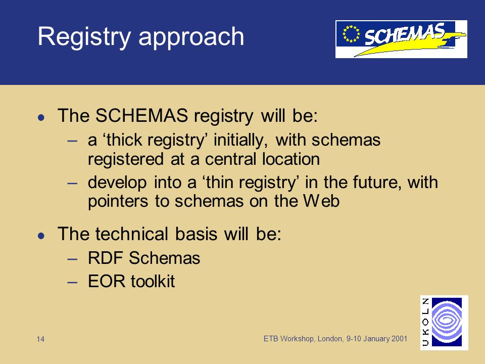 ETB Workshop, London, 9-10 January 2001 14 Registry approach The SCHEMAS registry will be: –a thick registry initially, with schemas registered at a central location –develop into a thin registry in the future, with pointers to schemas on the Web The technical basis will be: –RDF Schemas –EOR toolkit