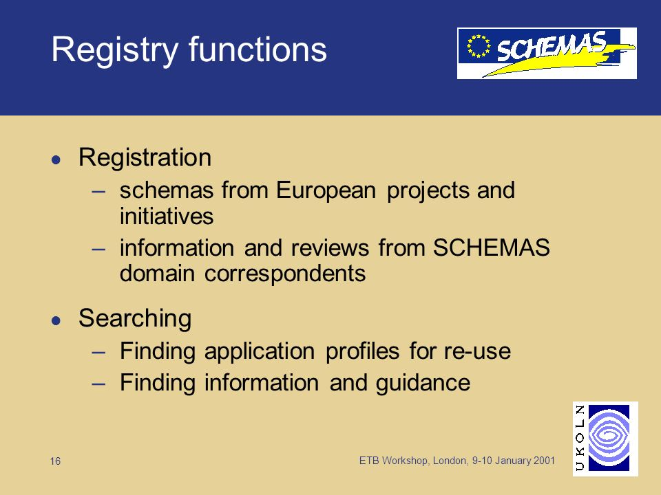 ETB Workshop, London, 9-10 January 2001 16 Registry functions Registration –schemas from European projects and initiatives –information and reviews from SCHEMAS domain correspondents Searching –Finding application profiles for re-use –Finding information and guidance