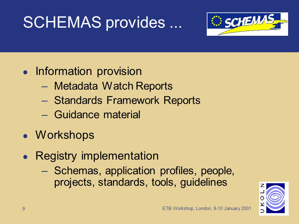 ETB Workshop, London, 9-10 January 2001 9 SCHEMAS provides...