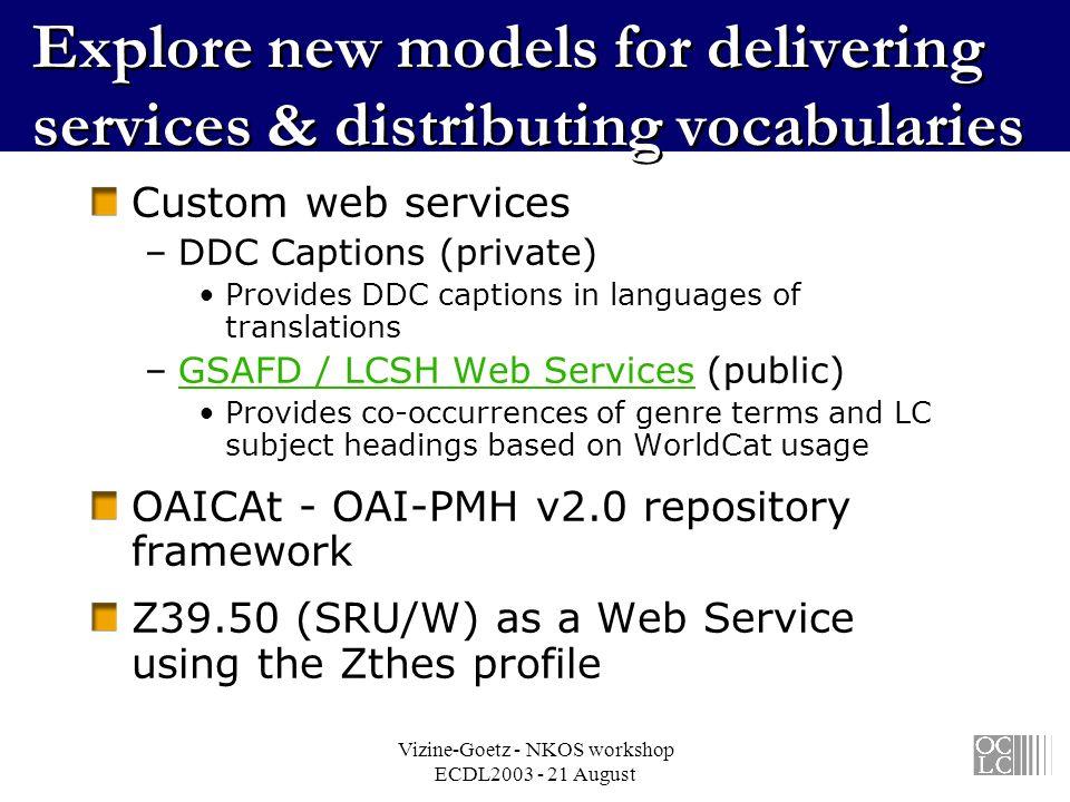 Vizine-Goetz - NKOS workshop ECDL2003 - 21 August Explore new models for delivering services & distributing vocabularies Custom web services –DDC Capt