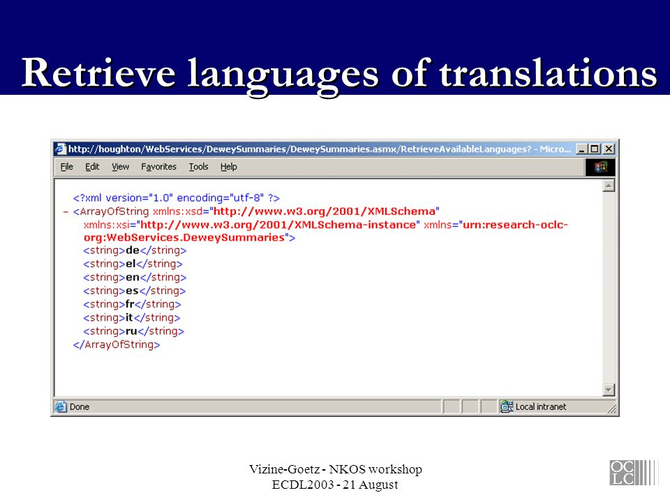 Vizine-Goetz - NKOS workshop ECDL2003 - 21 August Retrieve languages of translations