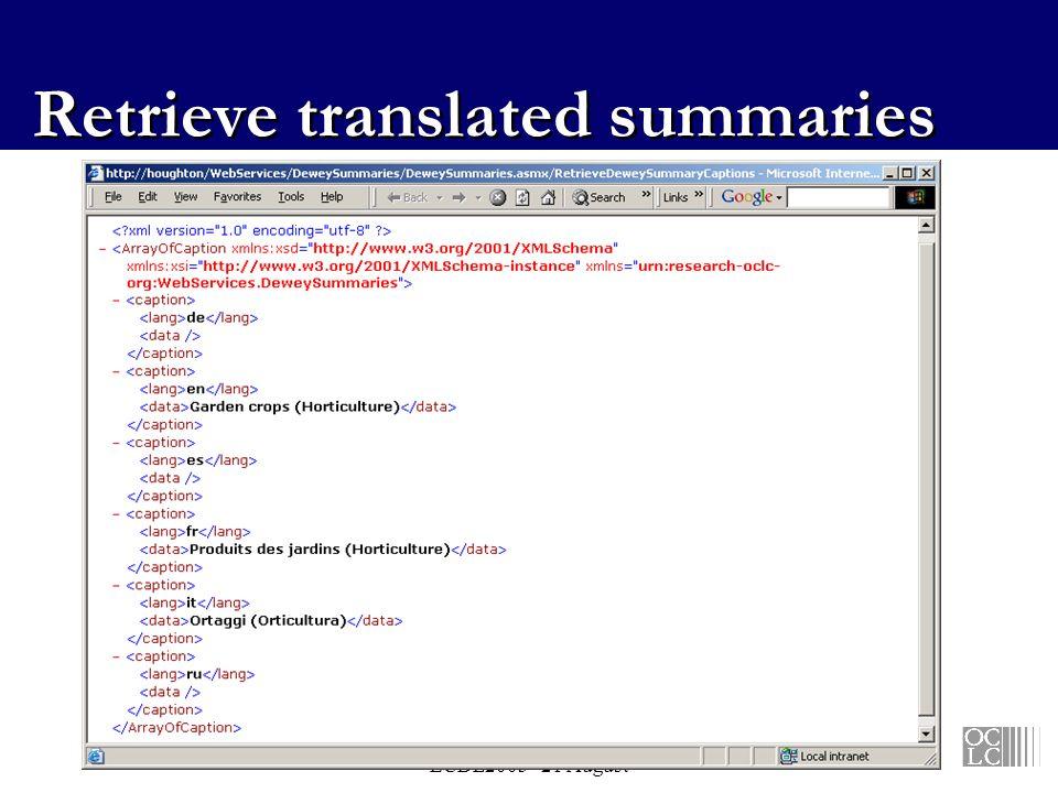 Vizine-Goetz - NKOS workshop ECDL2003 - 21 August Retrieve translated summaries