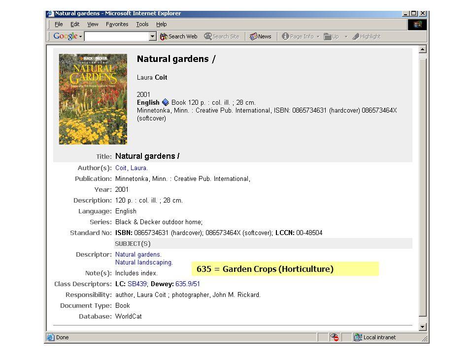 635 = Garden Crops (Horticulture)